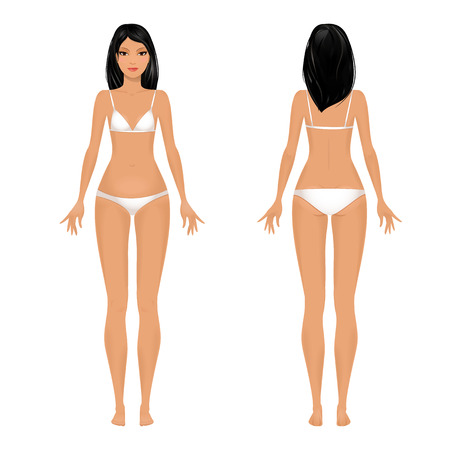 young girl underwear: Female body template front and back.