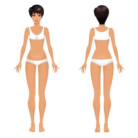 여성의 몸 템플릿 앞면과 뒷면. 일러스트