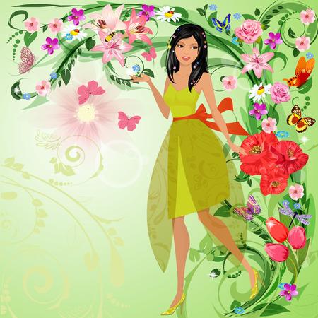 마법의 숲에서 아름 다운 여자 스톡 콘텐츠 - 25963445
