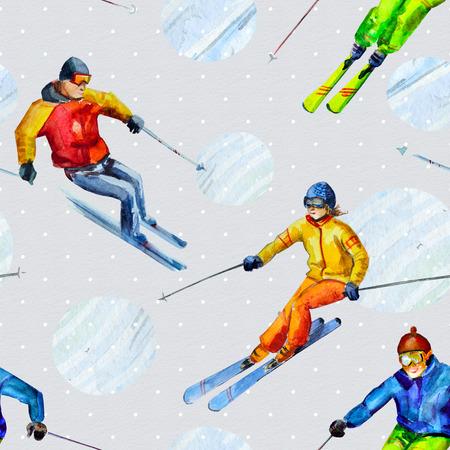 skiers: Skiers. Seamless texture watercolor