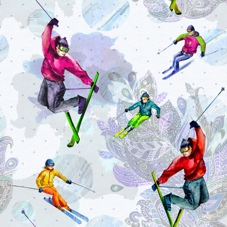 Skiers. Seamless texture watercolor photo