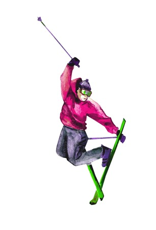Skier. watercolor photo