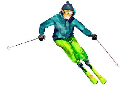 Skier. watercolor photo