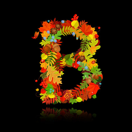 Beautiful autumn leaves. letter b Illustration