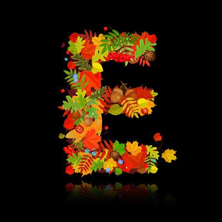 Beautiful autumn leaves. letter e Vector