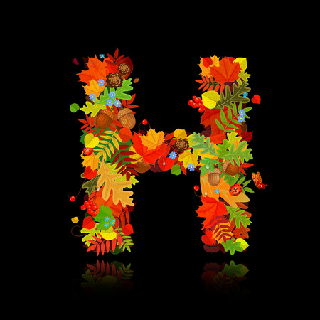 Beautiful autumn leaves. letter h Vector