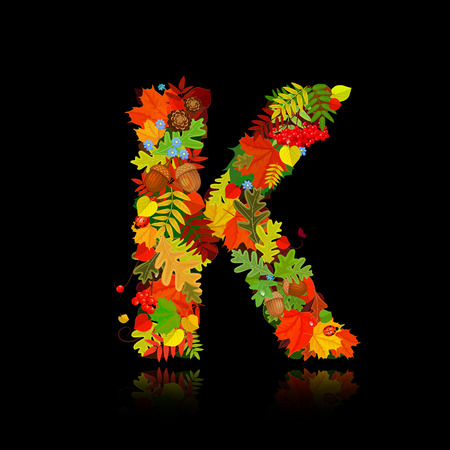 pinecone: Beautiful autumn leaves. letter k