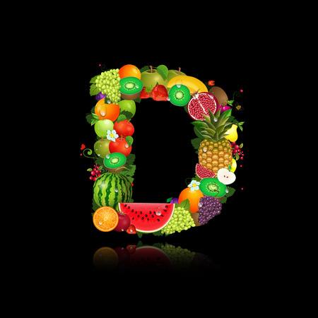 Letter of juicy fruit d Vector