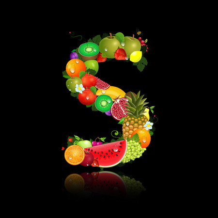 Juicy fruit in the form of letter s Vector