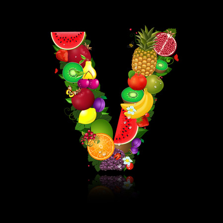 Juicy fruit in the form of letter v Vector