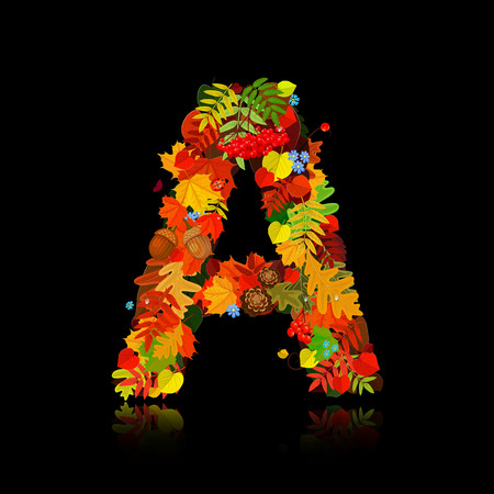 pinecone: Beautiful autumn leaves. letter a