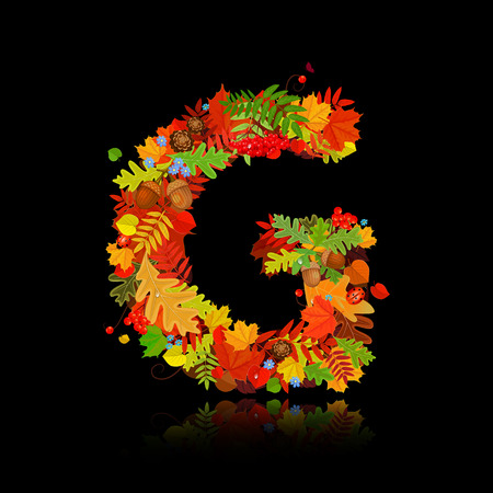 ash: Beautiful autumn leaves. letter g Illustration