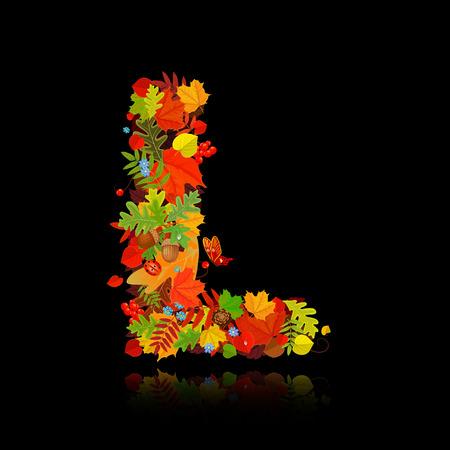 l natural: Beautiful autumn leaves. letter l Illustration
