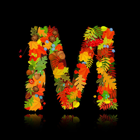 Beautiful autumn leaves. letter m Vector