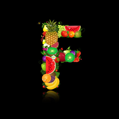 letter f: Letter of juicy fruit f