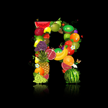 Juicy fruit in the form of letter r Vector