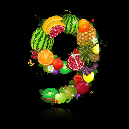 Juicy fruit in the form of number 9 Vector
