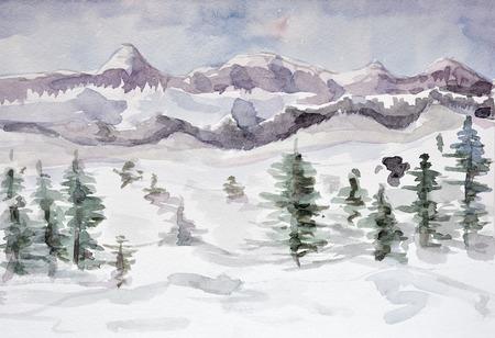 Winter mountain landscape. watercolor photo