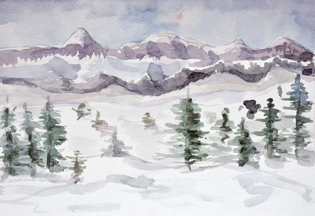 Winter mountain landscape. watercolor