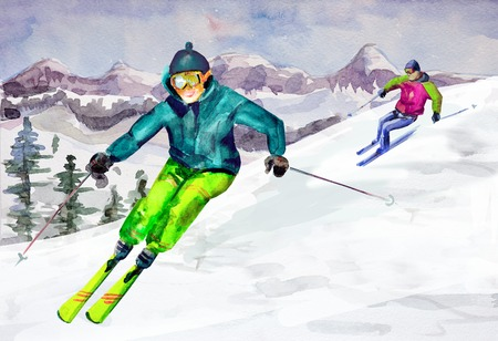 Paesaggio di montagna invernale. acquerello Archivio Fotografico - 27220777