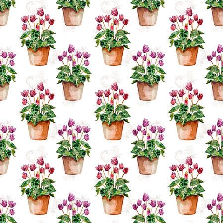 cyclamen: seamless texture with flowers home. watercolor