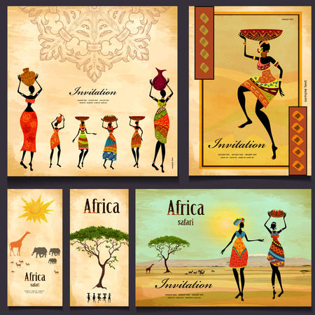 Greeting cards. beautiful woman africa Vector