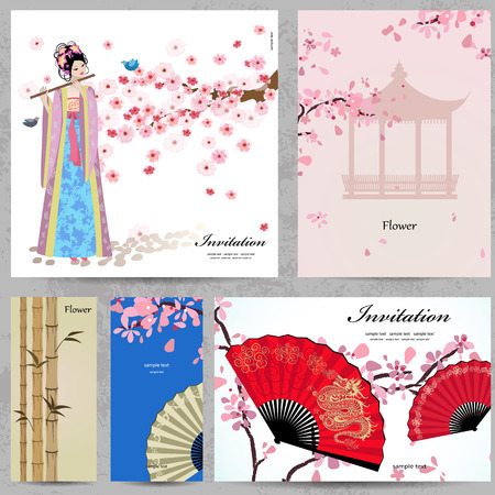 Greeting cards. Beautiful Women of China Vector