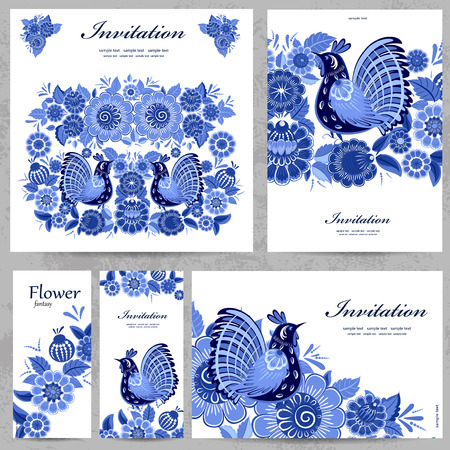gzhel: Collection of floral greeting cards for your design Illustration