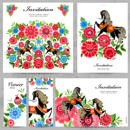 Collection of floral greeting cards for your design Stock Vector - 27234675