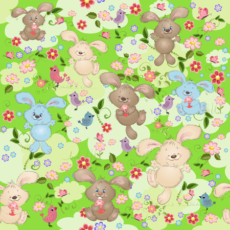 Easter seamless texture with rabbit Vector