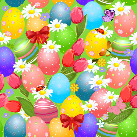 Easter seamless texture with eggs Vector