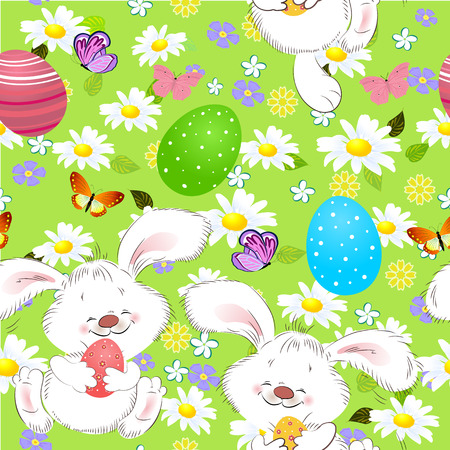 Easter seamless texture with rabbit Illustration