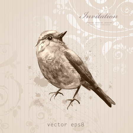 Cute bird for your design. watercolor