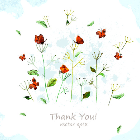 thank you cards: Watercolor flowers for your design.