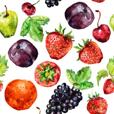 水彩フルーツのシームレスなテクスチャ  イラスト・ベクター素材