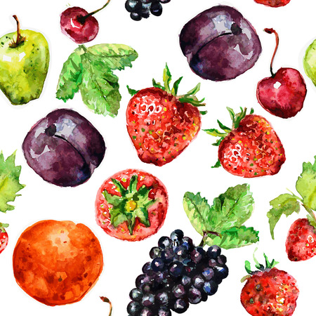 seamless texture of watercolor fruit Vector