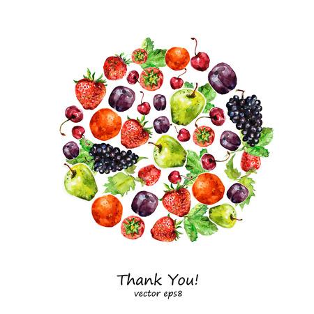 Aquarel fruit voor uw ontwerp. Stock Illustratie