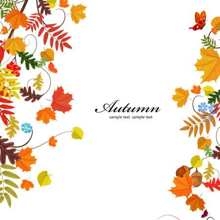 秋の葉のパターン  イラスト・ベクター素材