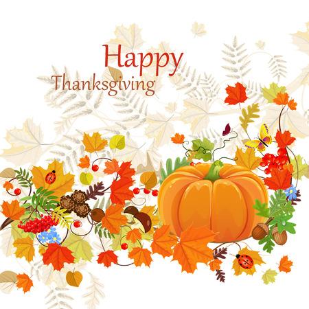 Feliz Día de Acción de Gracias celebración folleto, fondo con hojas de otoño