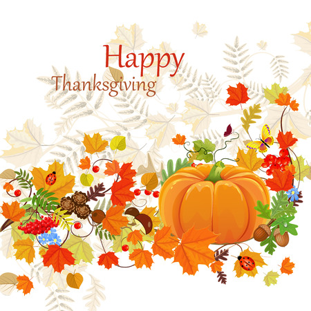 Happy Thanksgiving Day celebration flyer, background with autumn leaves Ilustração
