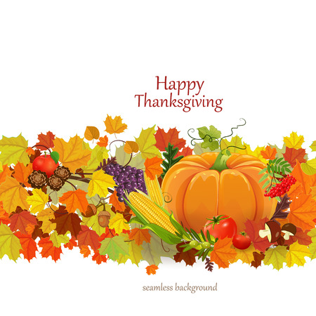 Happy Thanksgiving Day celebration flyer, seamless border Vector