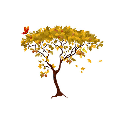 decorative oak tree Vector