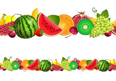green apple slice: seamless border of fruit