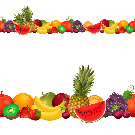 mixed wallpaper: seamless border of fruit