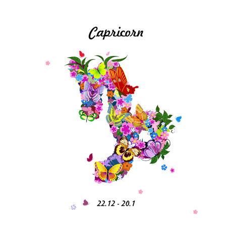 capricornio: Modelo con las mariposas, signo del zodiaco lindo - capricornio