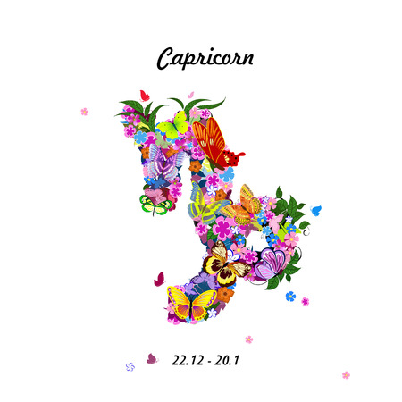 Pattern with butterflies, cute zodiac sign - capricorn Illustration