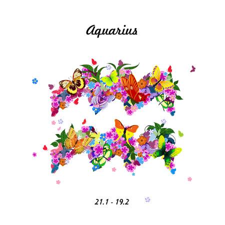 Pattern with butterflies, cute zodiac sign - aquarius Illustration