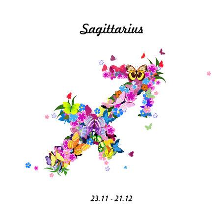 Pattern with butterflies, cute zodiac sign - saqittarius