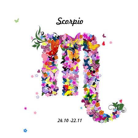 signes du zodiaque: Motif de papillons, signe du zodiaque mignon - scorpion Illustration