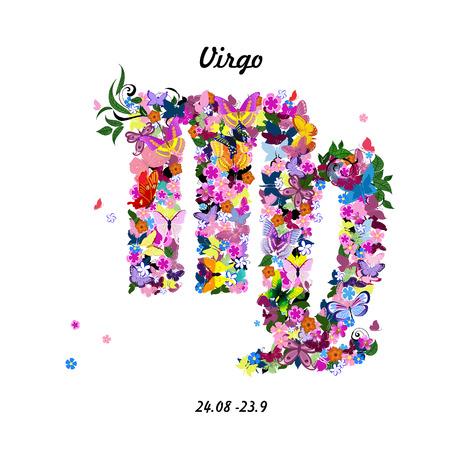 Pattern with butterflies, cute zodiac sign - virgo
